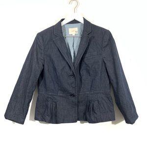 LOFT Chambray Blue Peplum Blazer Jacket